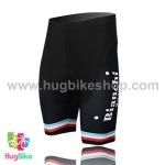 กางเกงจักรยานขาสั้นทีม Bianchi 15 (10) สีดำแถบเขียวขาวแดง
