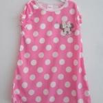 Disney : ชุดนอน ผ้า cotton ยืด สีชมพู จุดขาวใหญ่ ปักรูปมินนี่ Size : 12-18m / 3-4y