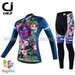 ชุดจักรยานผู้หญิงแขนยาวขายาว CheJi 16 (01) สีน้าเงิน ลายดอกไม้ Recing is life