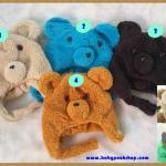 หมวกหน้าหมี ขนนุ่ม สี ฟ้า , ดำ