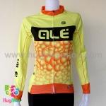 เสื้อจักรยานผู้หญิงแขนยาว ALE 16 (09) สีเหลืองดำส้มลายฟองน้ำ