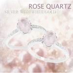 แหวนพลอยประจำวันเกิดวันอังคารตัวเรือนเงินแท้ ประดับพลอย Rose quartz (โรสควอตซ์)
