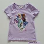 H&M : เสื้อยืดสกรีนลายเจ้าหญิงแอนนา เอลซ่า สีม่วง size : 1-2y / 4-6y / 6-8y / 10-12y