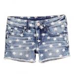 H&M : กางเกงยีนส์ขาสั้น ลายดาว มีสายปรับเอว size : 1-2y