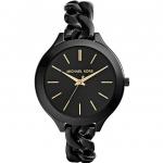 นาฬิกาข้อมือ Michael Kors รุ่น MK3317 Michael Kors Slim Runway Black With Gold-Tone Stick Markers Women's Watch MK3317