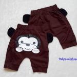 Aime'e : กางเกงทรง 3 ส่วน สกรีนลาย น้องลิง สีน้ำตาล ด้านหลัง เนื้อผ้า cotton นิ่ม งานไทยสไตล์เกาหลี