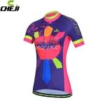 เสื้อจักรยานผู้หญิงแขนสั้น CheJi สีน้ำเงินลาย Rose Kiss