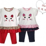 Winnie's : เสื้อยืดน้องแมวพร้อมเลคกิ้งลายจุด มี 2 สี สีแดง น้ำเงิน