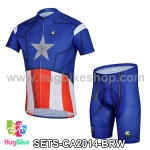 ชุดจักรยานแขนสั้น Captain America 14 สีน้ำเงินขาวแดง