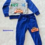 Carter's : Set เสื้อแขนยาว+กางเกงขายาว ลาย คาร์ สีน้ำเงิน เนื้อผ้า นิ่ม ไม่หนามาก size 1y / 6y