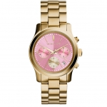 นาฬิกาข้อมือ Michael Kors รุ่น MK6161 Michael Kors Runway Pink Dial Gold-tone Stainless Steel Ladies Watch MK6161