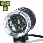 ไฟหน้าจักรยาน CREE XM-L T6 LED 3 ดวง ความสว่าง 3600 Lumen พร้อมแบตเตอรี่ครบชุด (DC) แบบกลม