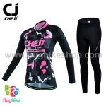 ชุดจักรยานผู้หญิงแขนยาวขายาว CheJi 16 (20) สีดำลายพรางชมพู