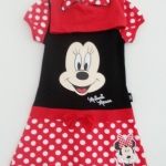 Disney : เดรสมินนี่สีแดงลายจุด มีฮูด size S (2-3y) / L (6-7y)