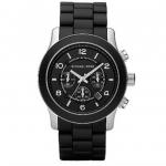นาฬิกาข้อมือ Michael Kors รุ่น MK8107 Michael Kors Runway Black Silicone Chronograph Watch MK8107 Size 45 mm