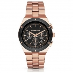 นาฬิกาข้อมือ Michael Kors MK6208 Michael Kors Reagan Black Dial Rose Gold-tone Stainless Steel Ladies Watch MK6208