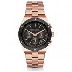 นาฬิกาข้อมือ Michael Kors MK6208 Michael Kors Reagan Black Dial Rose Gold-tone Stainless Steel Ladies Watch MK6208