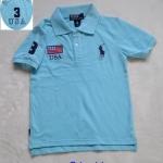 Polo : เสื้อคอปก ปักรูปม้าโปโล และ ธงชาติ USA สีฟ้า size : 40 (8-10y) / 42 (10-11y)