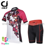 ชุดจักรยานผู้หญิงแขนสั้นขาสั้น CheJi 15 (01) สีขาวชมพูดำลายการ์ด