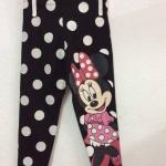 H&M : legging สกรีนลายมินนี่เมาส์ สีดำลายจุด size : 1-2y
