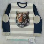 TEZENIS : เสื้อยืดสกรีนลายเสือแขนยาว ปะหนังที่แขน Size 10-11y