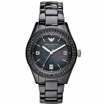 นาฬิกาข้อมือ Emporio Armani Women's AR1423 Black Ceramic Case & Bracelet Crystal Bezel Black