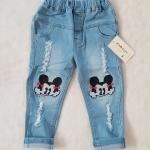 ZARA : กางเกงยีนส์ ปักลายมินนี่เมาส์ สีอ่อน size : 2 / 3 / 4 / 5 / 6 / 7 / 8