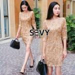 Mini Dress ผ้าเกรดดี ซับในเนื้อนิ่ม เย็บแต่งด้วยเส้นด้ายและเลื่อมสีทอง ใส่แล้วดูพริ้ว โดดเด่นสวยงามมากๆเลยคะ ซิปหลัง