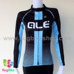 เสื้อจักรยานผู้หญิงแขนยาว ALE 16 (10) สีดำฟ้า