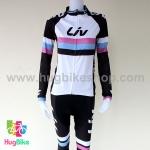 ชุดจักรยานแขนยาวขายาว Liv (01) สีขาวดำลายชมพูฟ้าดำ