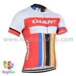 เสื้อจักรยานแขนสั้นทีม Giant 2016 (03) สีขาวแดงแถบฟ้าแดงเหลือง