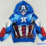Marvel : แจ็คเก็ทกันหนาว มีฮูด ลาย กัปตันอเมริกา สีน้ำเงิน เนื้อผ้าออกลื่นๆ size L ( 9-10y) / XL (10-12y)