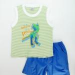 Baby Q : ชุดเสื้อกล้ามลายริ้วสีเขียวอ่อน สกรีนลายไดโนเสาร์