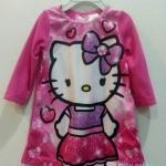 ** Hello Kitty ** : ชุดนอนผ้าสำลี สกรีนลาย Kitty สีชมพู size : 12m