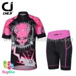ชุดจักรยานผู้หญิงแขนสั้นขาสั้น CheJi 14 (11) สีดำชมพูลาย Devil Gear