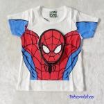 เสื้อ สกรีนลาย spiderman สีขาว (ตรงหน้า นูนขึ้นมา) size 90 / 110