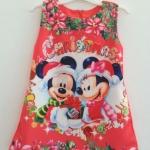 Zara Kids : เดรสพิมพ์ลาย มิกกี้ มินนี่เมาส์ คริสมาสต์ สีส้มออกแดง size: 1y / 2y