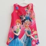 ZARA : เดรสพิมพ์ลาย Frozen สีชมพูเข้ม size 4y / 5y / 8y / 9y / 10y