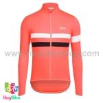 เสื้อจักรยานแขนยาวทีม Rapha 16 (01) สีส้มอมชมพูหน้าอกแถบขาวดำ