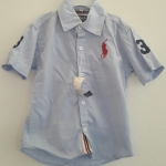 POLO : เสื้อเชิ๊ต แขนสั้น ปักม้าโปโล สีฟ้าอ่อน size 1