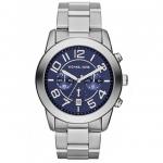 นาฬิกาข้อมือ Michael Kors รุ่น MK8329 Michael Kors Silver Tone Stainless Steel Quartz Watch with Blue Dial Watch MK8329 Size 45 mm