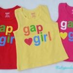 GAP : เสื้อกล้ามติดโลโก้ gap girl เนื้อผ้าเด้งนิดๆ นิ่มค่ะ สีแดง เหลือง ชมพู