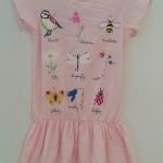 H&M : เดรสสีชมพูอ่อน ลายแมลง ดอกไม้ (งานตัดป้าย) size : 1.5-2y / 4-6y