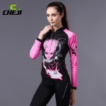 ชุดจักรยานผู้หญิงแขนยาวขายาว CheJi 14 (11) สีดำชมพูลาย Devil Gear