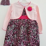 Ashley's : เดรสลายเสือสีม่วง พร้อมเสื้อคลุมสีชมพู size 2T / 3T / 4T
