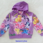Disney : เสื้อแจ๊คเก็ท กันหนาว มีฮูด ลายม้าโพนี่ สายรุ้ง สีม่วง Size : S ( 4-5y )