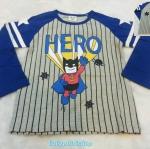 CISI : เสื้อยืดแขนยาว สกรีนลาย HERO สีเทา น้ำเงิน size 120