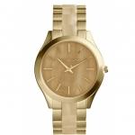 นาฬิกาข้อมือ Michael Kors รุ่น MK4285 Michael Kors Slim Runway Champagne Dial Gold-tone and Milky Horn Ladies Watch MK4285 Size 42 mm