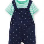 Carter's : ชุดเอี๊ยมสีน้ำเงินลายสมอเรือ (เฉพาะ เอี๊ยม) ผ้า cotton เนื้อนิ่ม สวย ใส่ได้ทั้ง ช / ญ size 3m