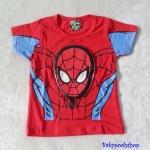 เสื้อ สกรีนลาย Spiderman สีแดง (ตรงหน้า นูนขึ้นมา ) size 90 / 100